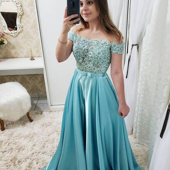 Blue Appliques Long Prom Dress, A Line Formal Evening Dress