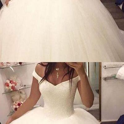 Charming Wedding Dress,Tulle Ball Gown Wedding Dresses,White Bridal Dresses